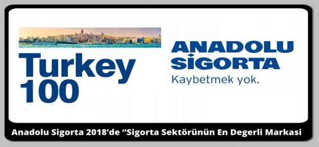 """Anadolu Sigorta 2018'de """"Sigorta Sektörünün En Değerli Markası"""